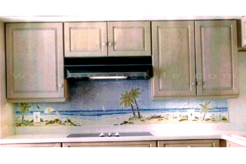 kiln fired tile kitchen backsplash mural florida beach scene a beach