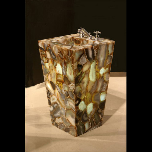 Gemstone Sink : Agape Tile - Wild Agate Geode Gemstone Pedestal Sink, 1 piece