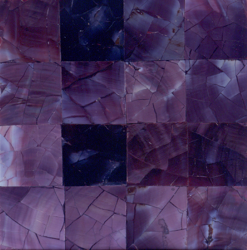 "Violet Oyster Crackle Squares Shell Tile 2"" x 2"", 10 pieces"