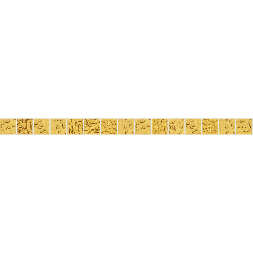"Yellow Oro 20.1 Wavy Gold Leaf Tile 20mm - 3/4"", 1 LF row"