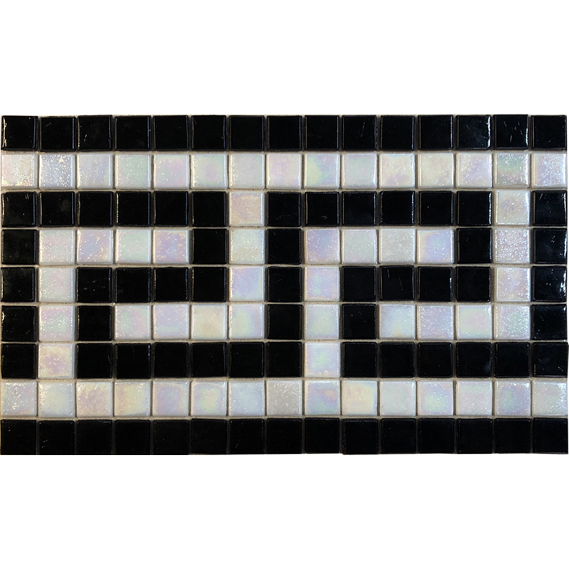 "Black & IR White Greek Key Glass Mosaic Waterline or Border 7.25"" High, 1 Lineal Foot"