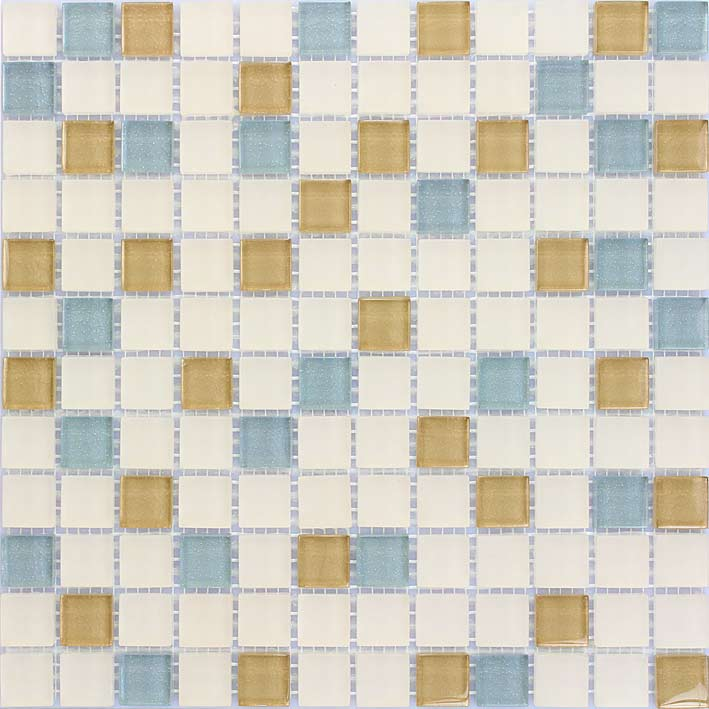 Chopin 1050 Gloss & Matte Blend Villi Glass Mosaic Tile, 1 sheet