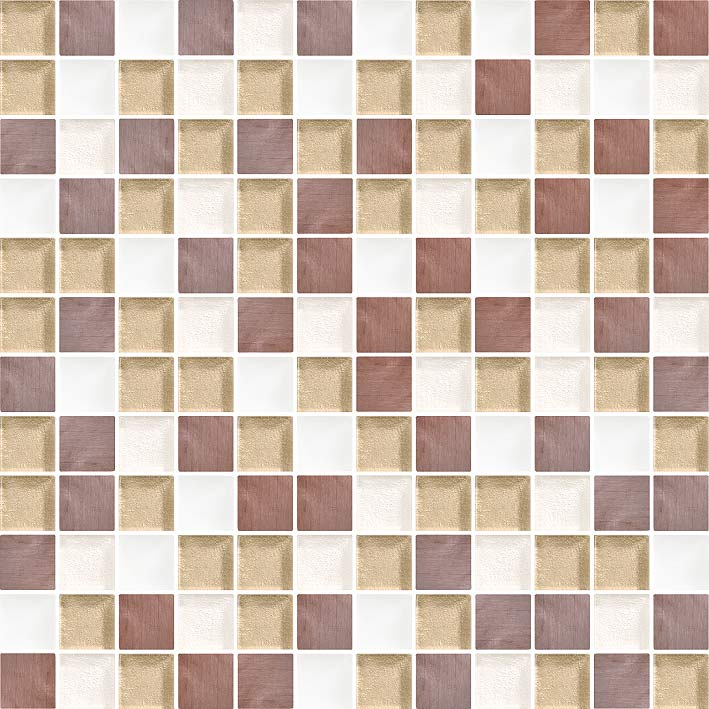 Savannah 1071 Glass & Metal Blend Villi Glass Mosaic Tile, 1 sheet