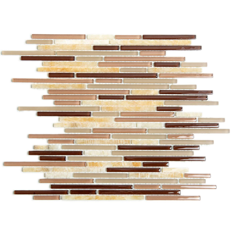 Birch 1087 Glass & Stone Pencil Villi Glass Mosaic Tile, 1 sheet