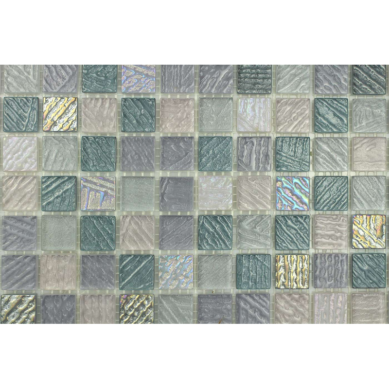 "Bahia 0701 Fossil Textured Blend Villi Glass Mosaic 1x1"" Tile, 1 sheet"