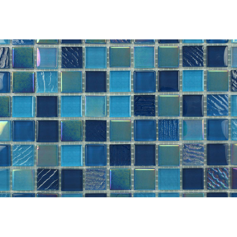 "Blue Ocean 1603 Fossil Textured Blend Villi Glass Mosaic 1x1"" Tile, 1 sheet"