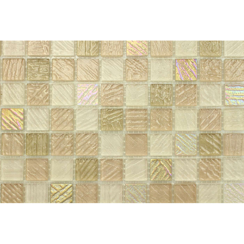 "Elba 0706 Fossil Textured Blend Villi Glass Mosaic 1x1"" Tile, 1 sheet"
