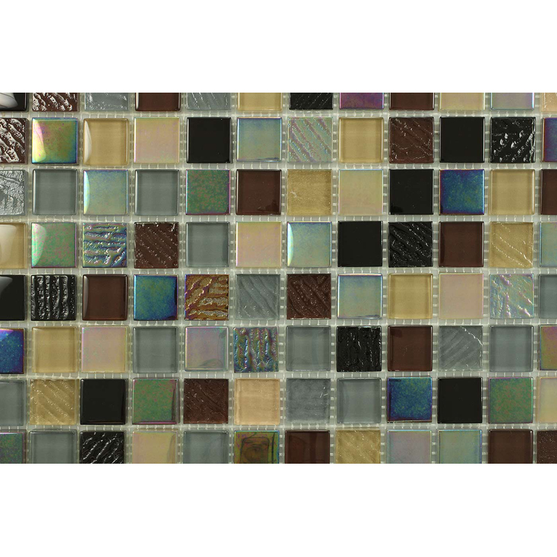 "Fedora 1600 Fossil Textured Blend Villi Glass Mosaic 1x1"" Tile, 1 sheet"