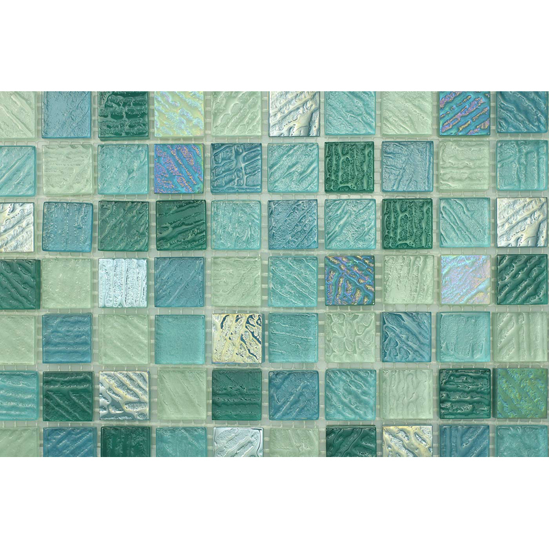 "Fiji 0406 Fossil Textured Blend Villi Glass Mosaic 1x1"" Tile, 1 sheet"