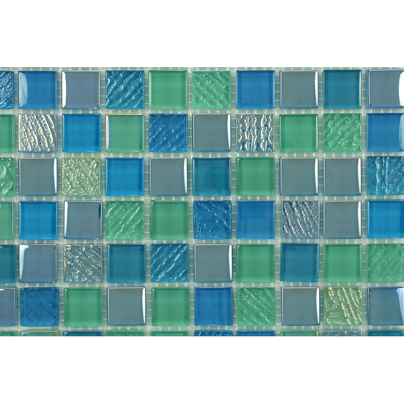 "Sea Life 1601 Fossil Textured Blend Villi Glass Mosaic 1x1"" Tile, 1 sheet"