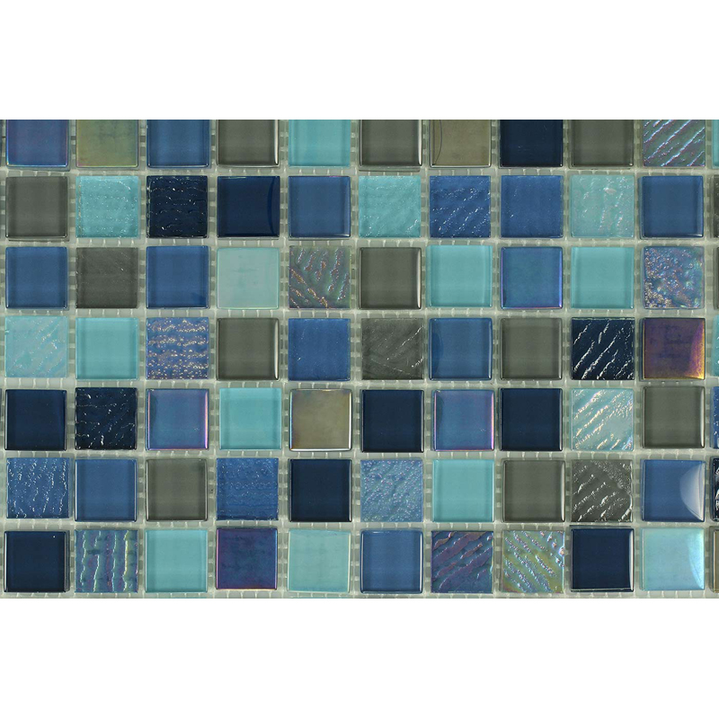 "Seven Seas 1602 Fossil Textured Blend Villi Glass Mosaic 1x1"" Tile, 1 sheet"