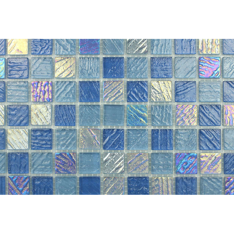 "Arno 0753 Fossil Textured Blend Villi Glass Mosaic 1x1"" Tile, 1 sheet"