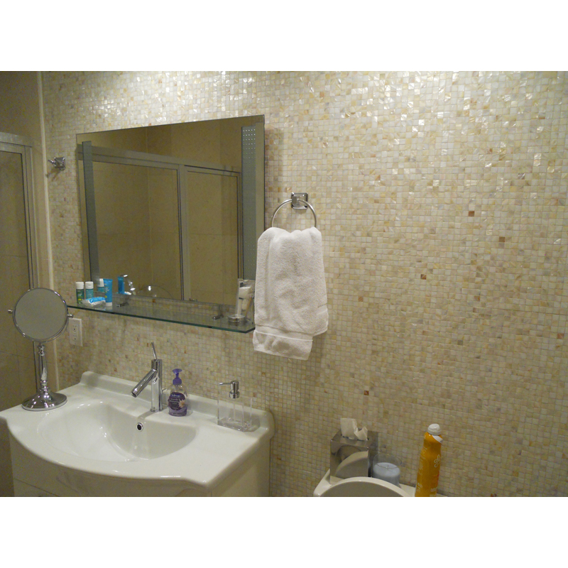 Miami Condo Natural River Seashell Mosaic Bathrooms 1