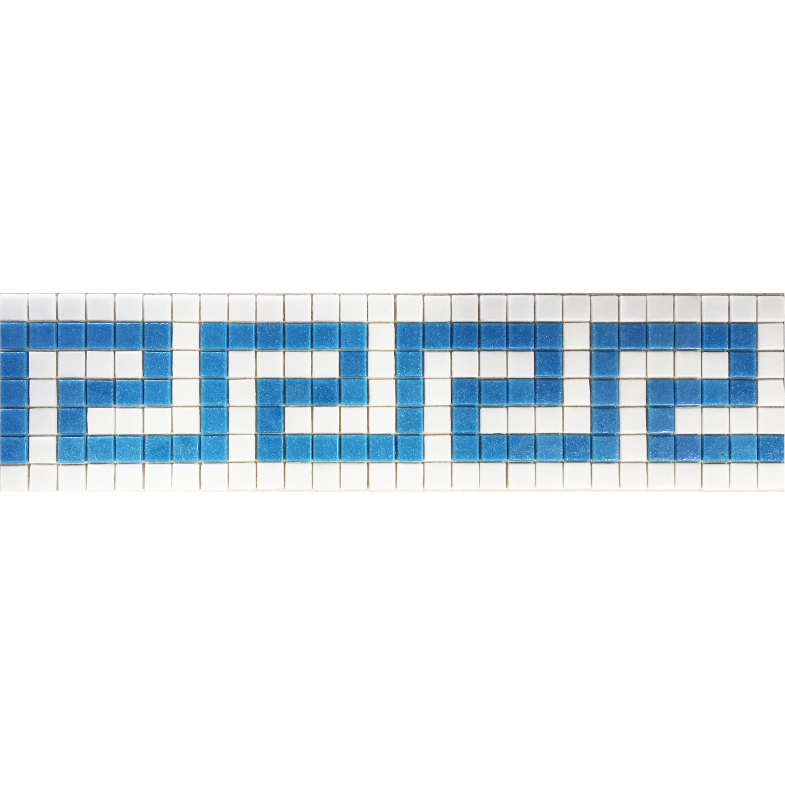 "Cancun 6 - Greek Key Glass Mosaic Waterline or Border 5.5"" High, 1 Lineal Foot"