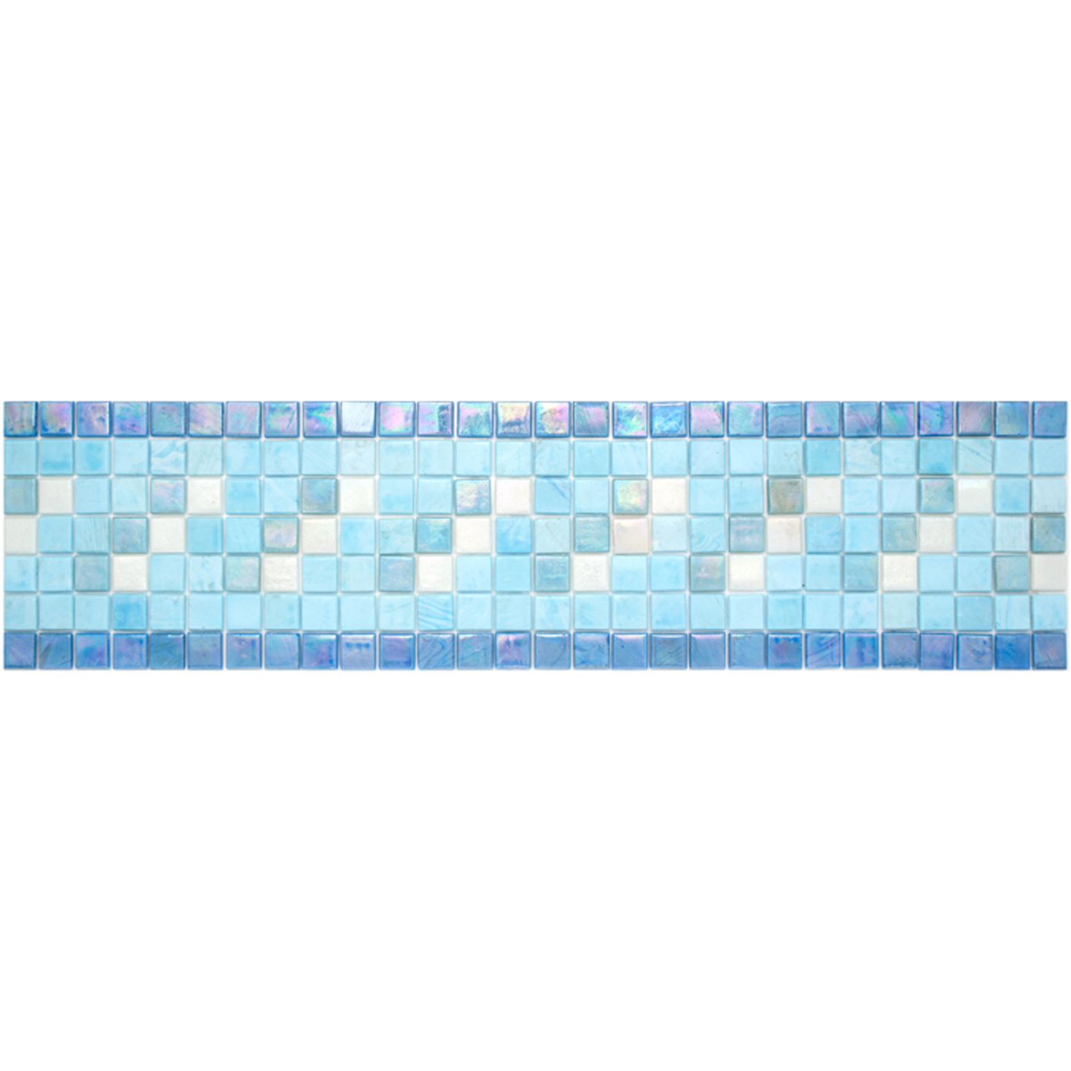 "Island Glass Mosaic Waterline or Border 5.5"" High, 1 Lineal Foot"