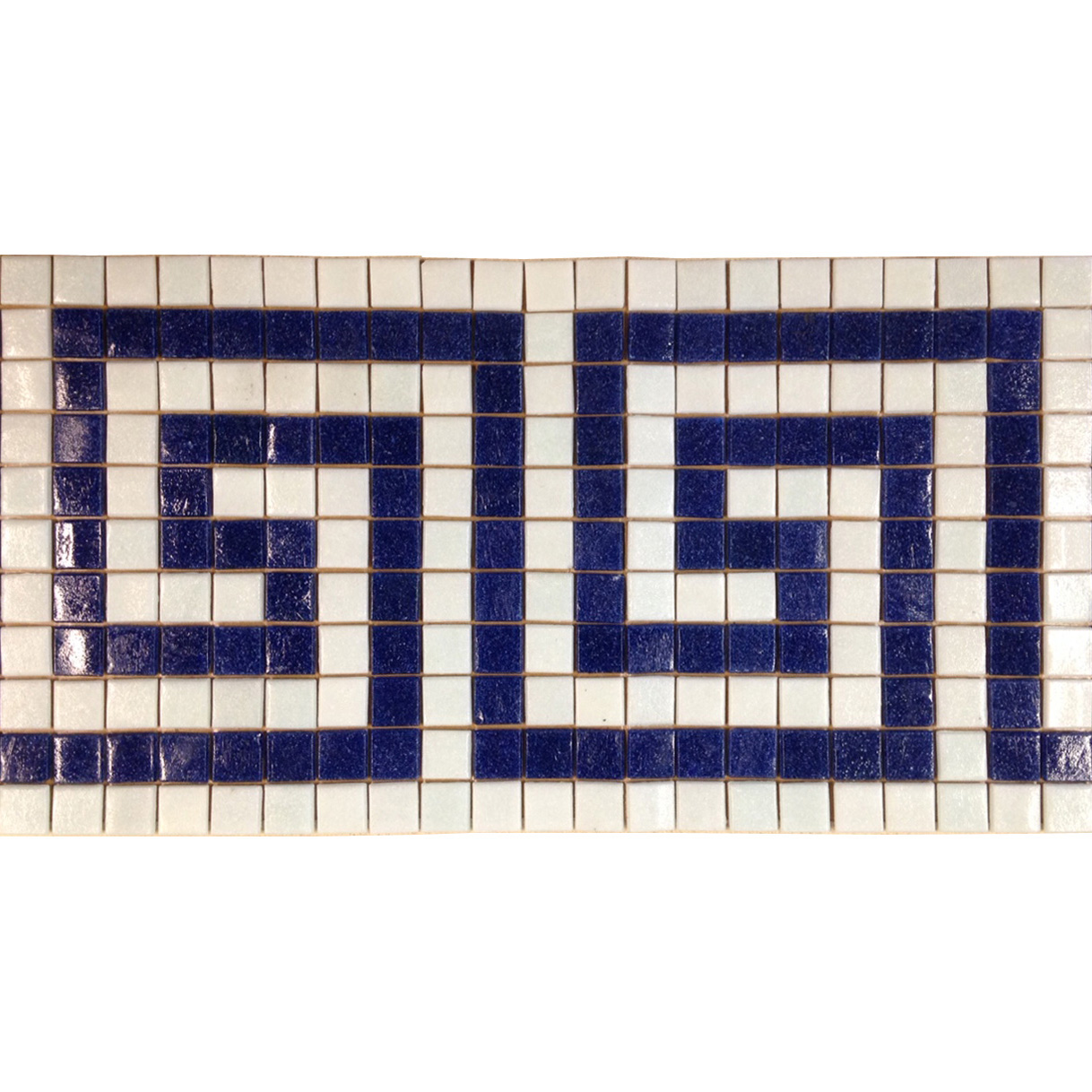 "Laberinth Greek Key Glass Mosaic Waterline or Border 9"" High, 1 Lineal Foot"