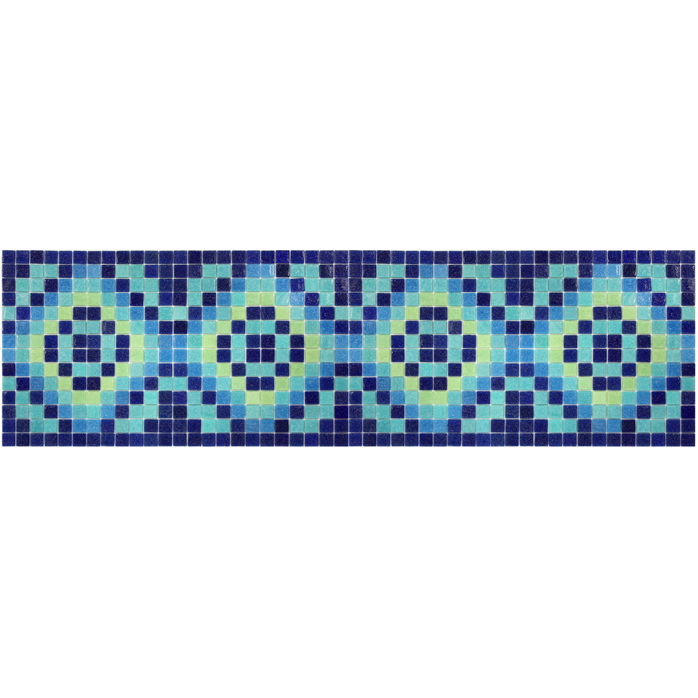 "Marroqui 10 Glass Mosaic Waterline or Border 11.25"" High, 1 Lineal Foot"