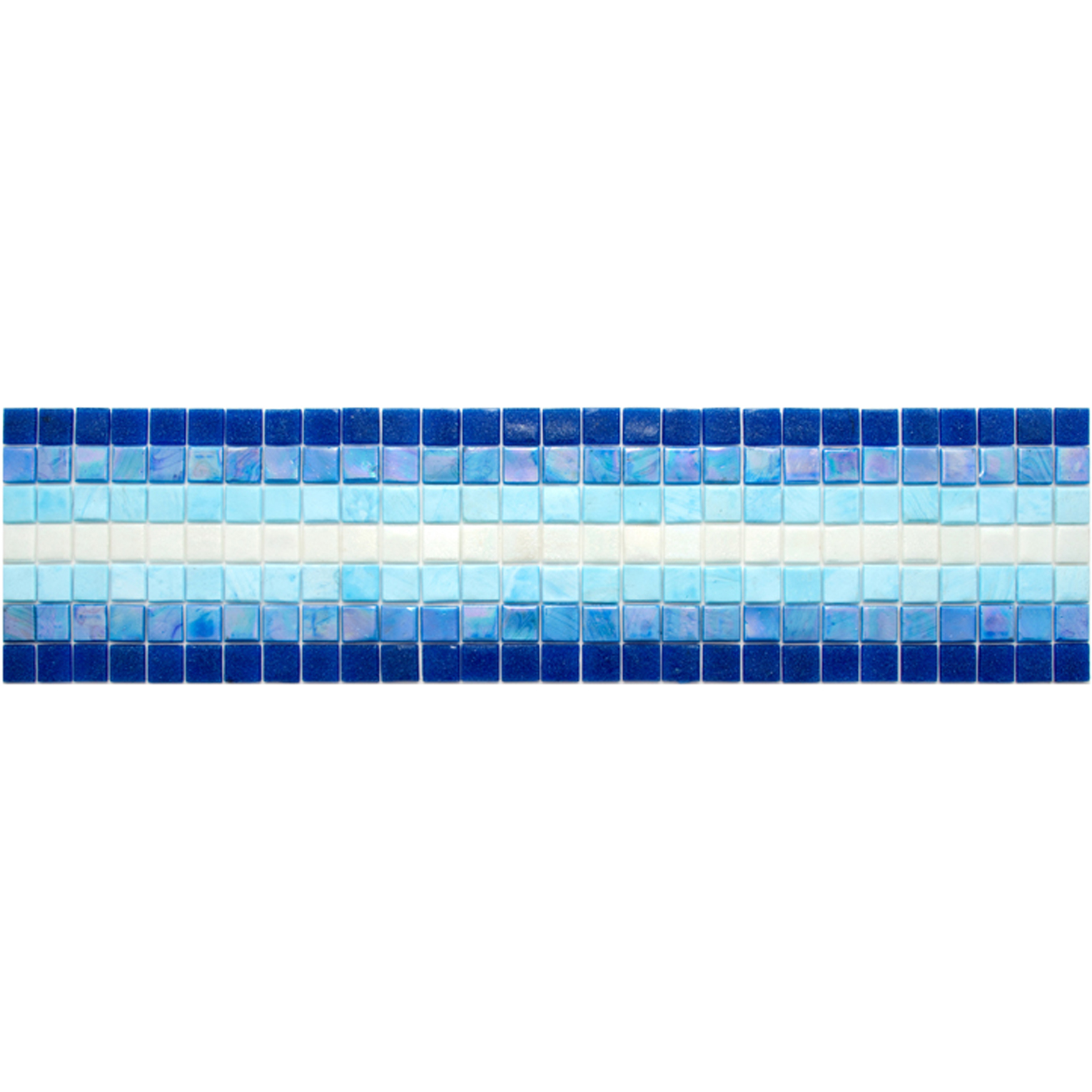 "Oasis Glass Mosaic Waterline or Border 5.5"" High, 1 Lineal Foot"