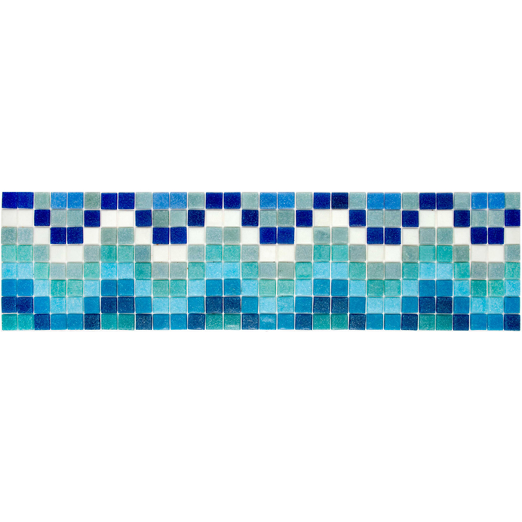 "Ripple Glass Mosaic Waterline or Border 6.25"" High, 1 Lineal Foot"