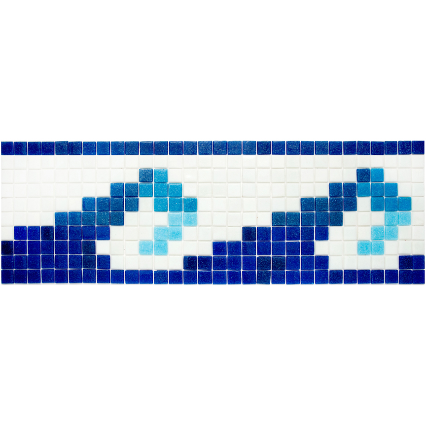 "Wave - Olas 4 Glass Mosaic Waterline or Border 8"" High, 1 Lineal Foot"