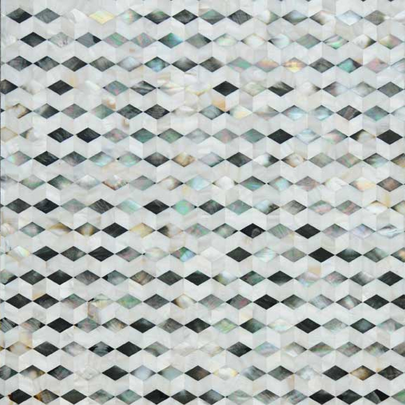 "Black & White Mother of Pearl Lineal Diamond Seamless Shell Mosaic Tile 11.8x11.8"", 1 tile"