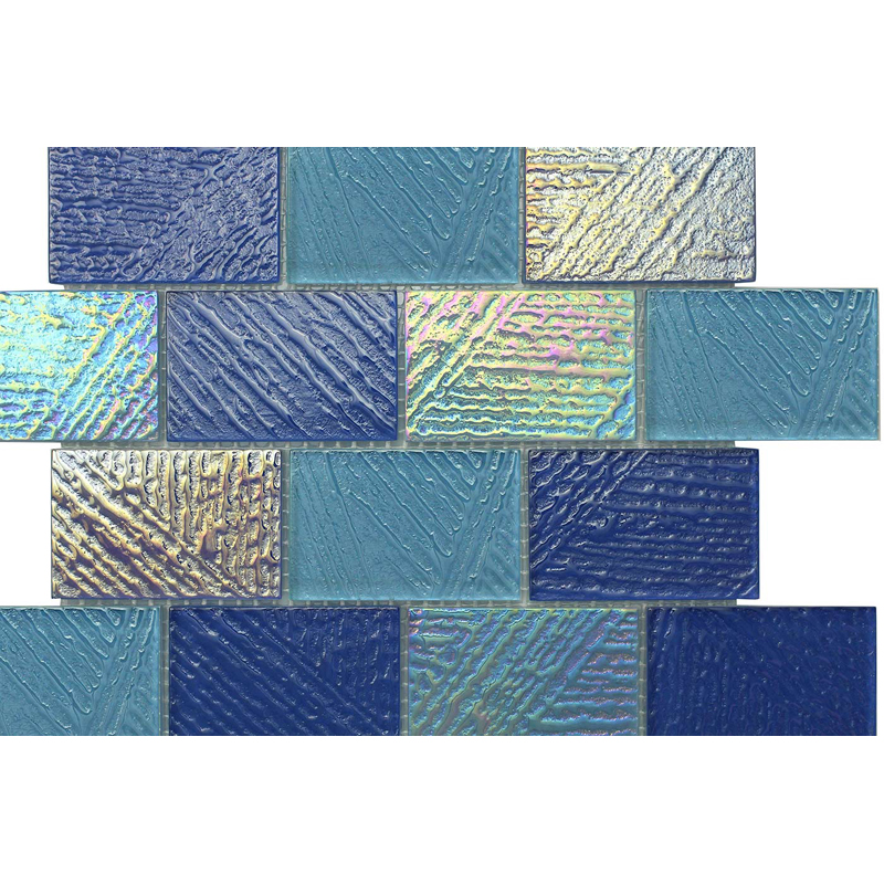 "Arno 0753 Fossil Textured Mix Blend Villi Glass Mosaic Tile, 2x3"" offset, 1 sheet"