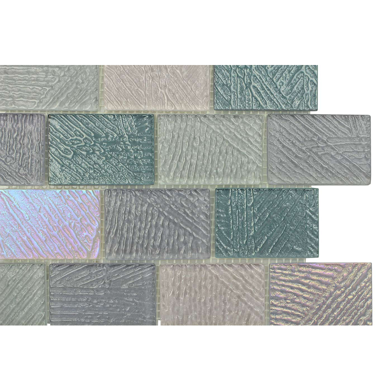 "Bahia 0701 Fossil Textured Blend Villi Glass Mosaic Tile, 2x3"" offset, 1 sheet"