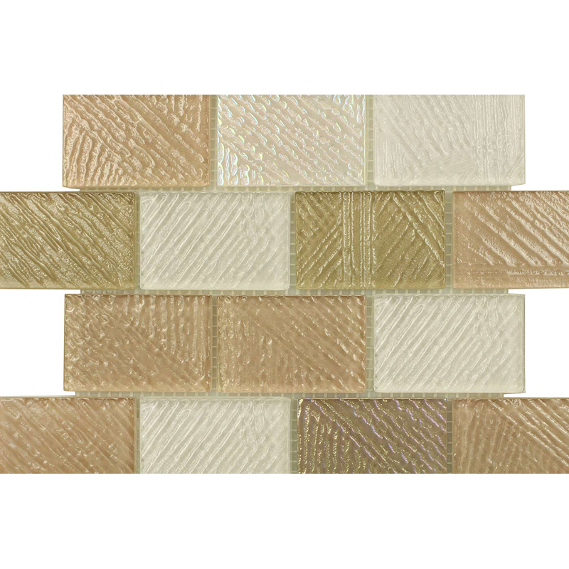 "Elba 0706 Fossil Textured Blend Villi Glass Mosaic Tile, 2x3"" offset,1 sheet"