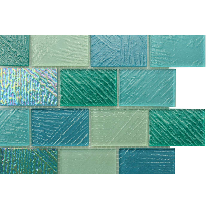 "Fiji 0406 Fossil Textured Blend Villi Glass Mosaic Tile, 2x3"" offset, 1 sheet"