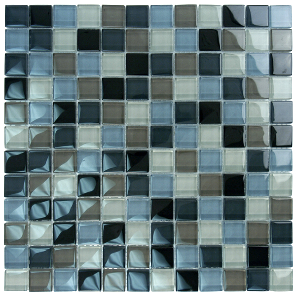 "AIM Black Charcoal Gray Taupe Mosaic Tile Blend, 1x1"", 1 sheet"