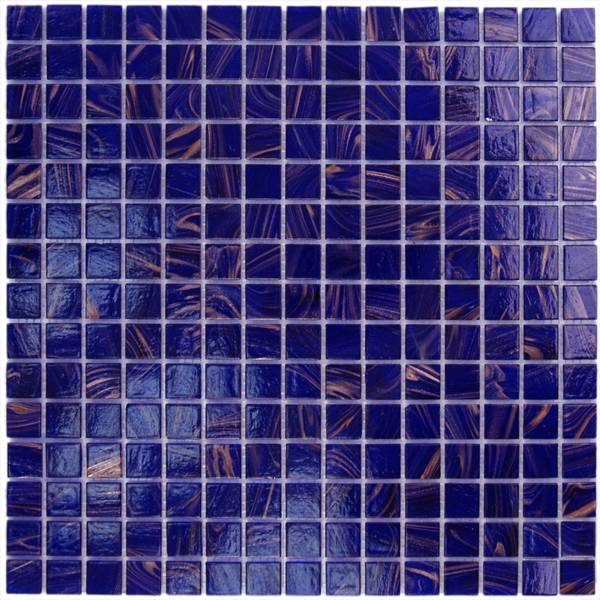 Aim Cobalt Blue Copper Mosaic Tile Blend 1 Sheet