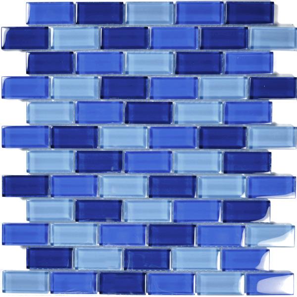 aim cobalt blue brick glass mosaic tile blend 1 sheet