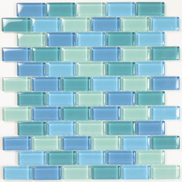 Aim Turquoise Blue Brick Gl Mosaic Tile Blend 1 Sheet