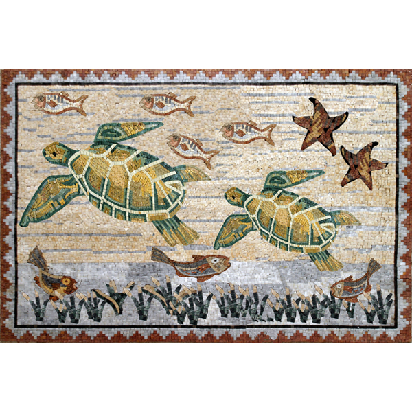 "Swimming Turtles Handcut Stone Mosaic Mural 40"" x 28"", 1 mural"
