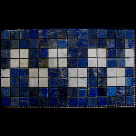 "Lapis Lazuli Checkers Border Waterline Mosaic Gemstone Tile, 6.3"" high, per lineal foot"