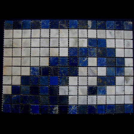"Lapis Lazuli Ocean Wave Border Waterline Mosaic Gemstone Tile, 7.75"" high, per lineal foot"