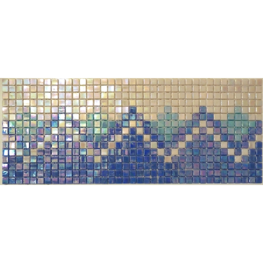 "Amalfi Greek Key Glass Mosaic Waterline or Border 6.375"" High, 1 Lineal Foot"