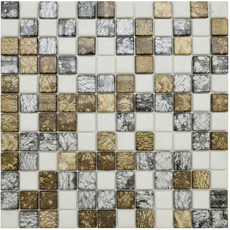 "Mosai & Co Andes Blend Glass Mosaic Tile, 1"" x 1"" - 25mm, 1 sheet"