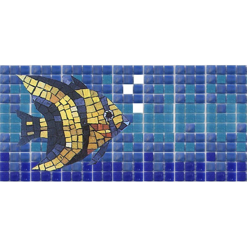 "Bubbles and Angelfish 10mm & Handcut Glass Mosaic Waterline or Border 5"" High, 1 Lineal Foot"