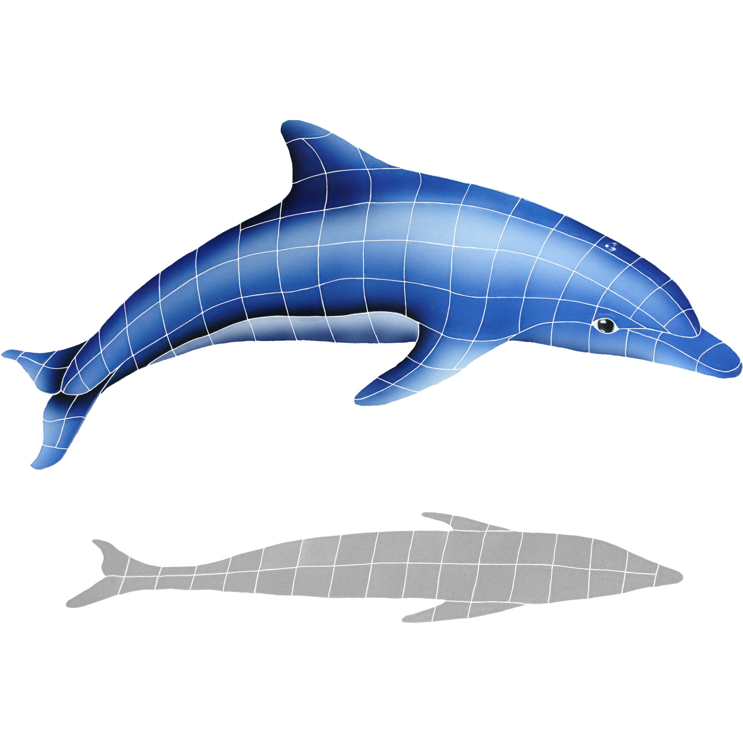 "Dolphin in the Sun with Shadow A Ceramic Mosaic Swimming Pool Mural 31"" x 42"", 1 piece"