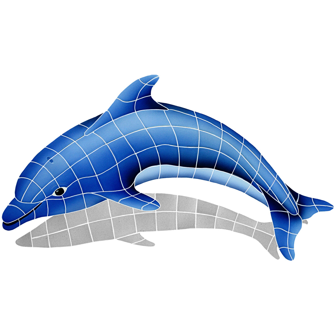 "Dolphin Left Large with Shadow Ceramic Mosaic Swimming Pool Mural 25"" x 40"", 1 piece"