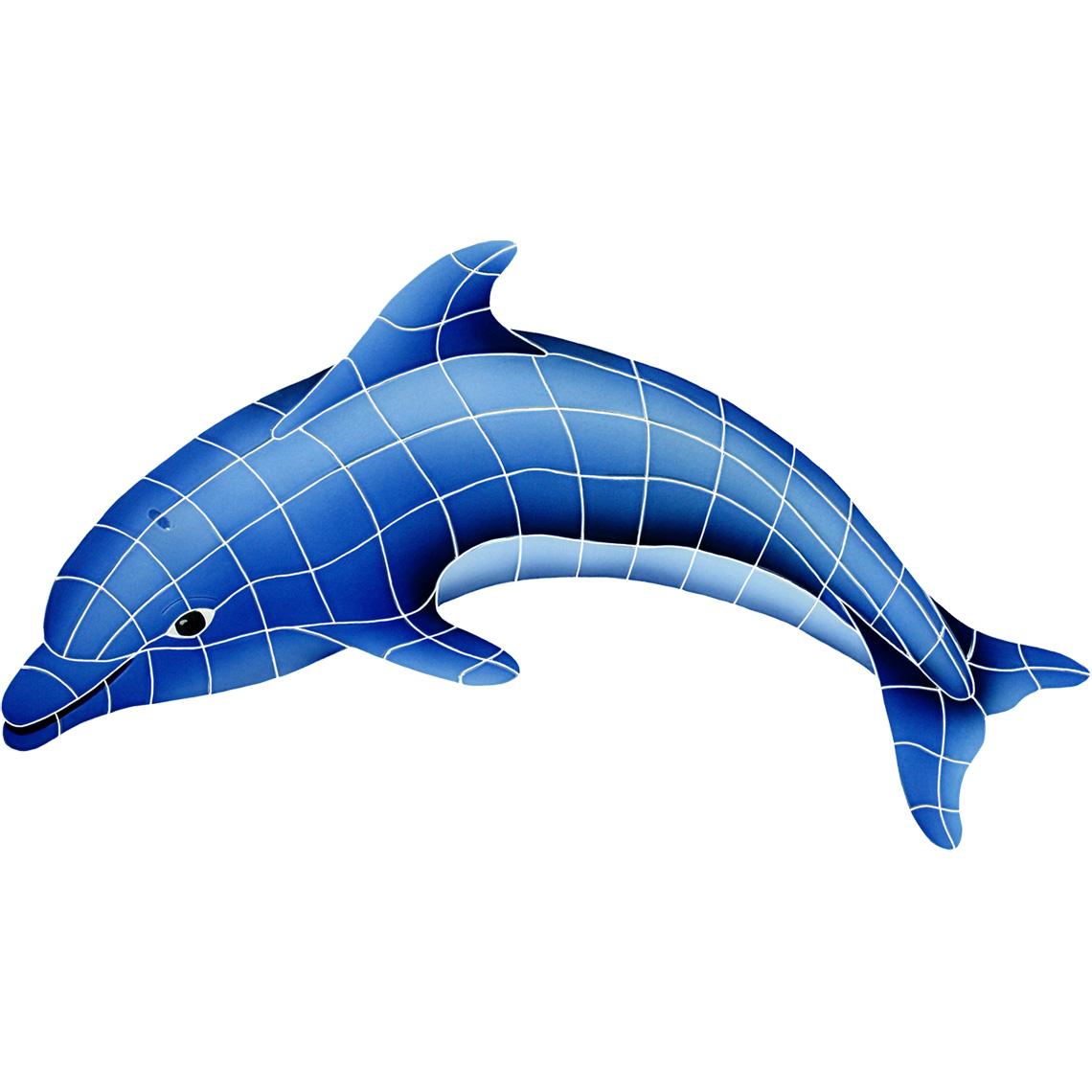 "Dolphin Left Large Ceramic Mosaic Swimming Pool Mural 24"" x 40"", 1 piece"