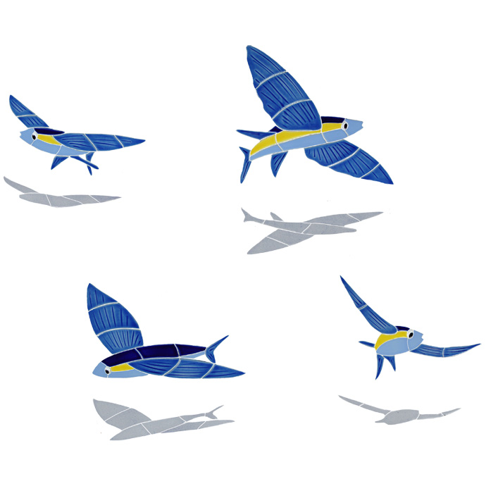 Ceramic Mosaic Flying Fish Murals