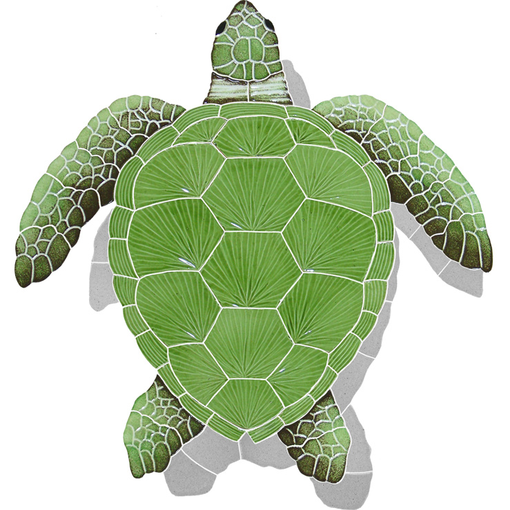 "Loggerhead Turtle Green Large with Shadow Ceramic Mosaic Swimming Pool Mural 22"" x 20"", 1 piece"