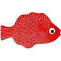 "Mini Fish Red Ceramic Mosaic Swimming Pool Mural 2"" x 4"", 1 piece"