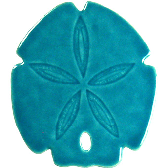 "Sand Dollar Aqua Ceramic Mosaic Swimming Pool Mural 5"" x 5"", 1 piece"