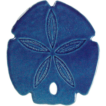 "Sand Dollar Blue Ceramic Mosaic Swimming Pool Mural 5"" x 5"", 1 piece"