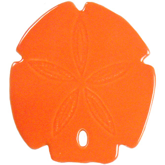 "Sand Dollar Orange Ceramic Mosaic Swimming Pool Mural 5"" x 5"", 1 piece"