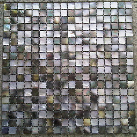 "Black Mother of Pearl Natural Shell Mosaic Sheet 10mm - 3/8"", 1 tile"