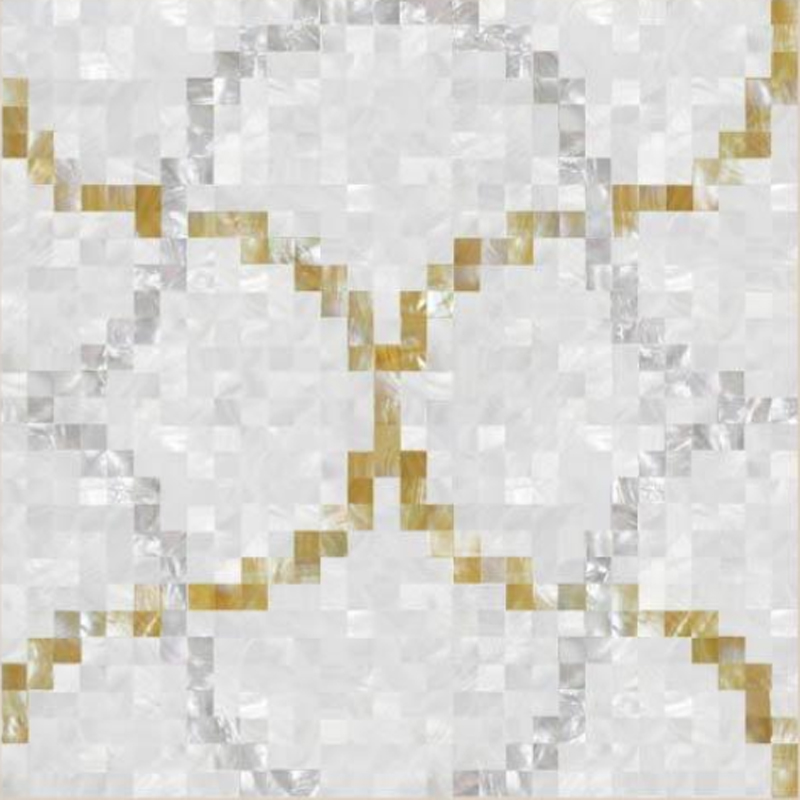 "Basilica 1 White River, Gold & White MOP Geometric Lattice Seashell Tile, 23.62"" x 23.62"", 1 Tile"